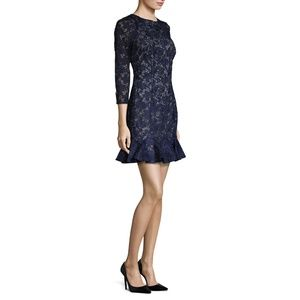 Monique Lhuillier navy lace dress peplum hem
